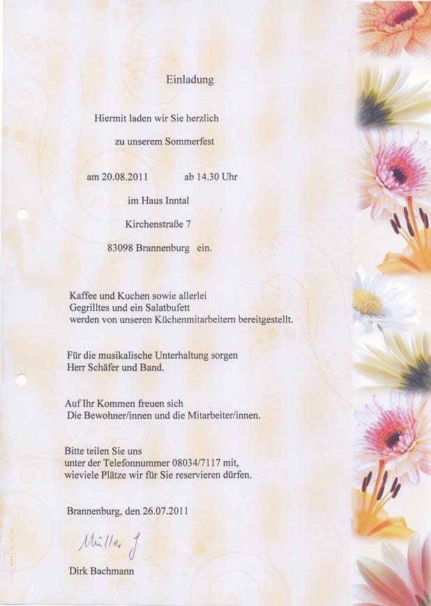 haus inntal - aktuelles, Einladung